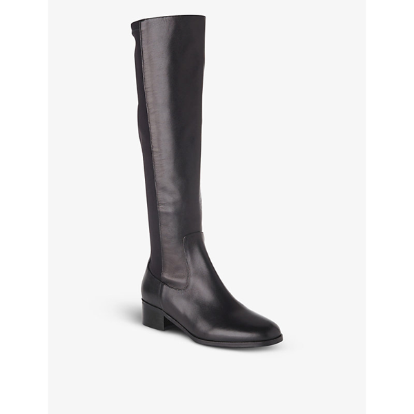 Lk Bennett Brooklyn Heeled Croc-embossed Leather Knee-high Boots In Bro-chocolate
