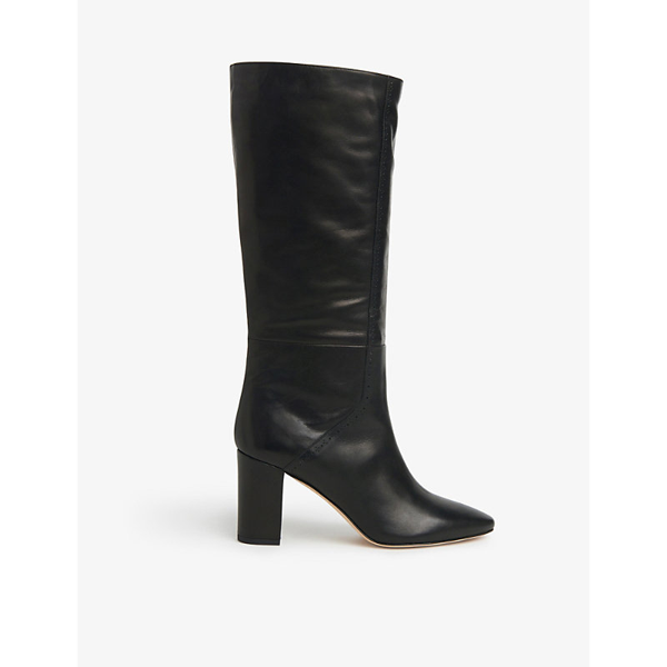 Lk Bennett Bobbi Brogue-detailing Leather Knee-high Boots In Bla-black