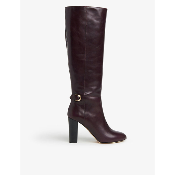 Lk Bennett Brooklyn Leather Knee-high Boots In Red-wine