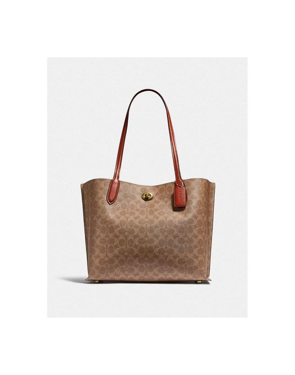 Coach Willow Canvas Tote Carryall Colour: Tan/rust In Brown