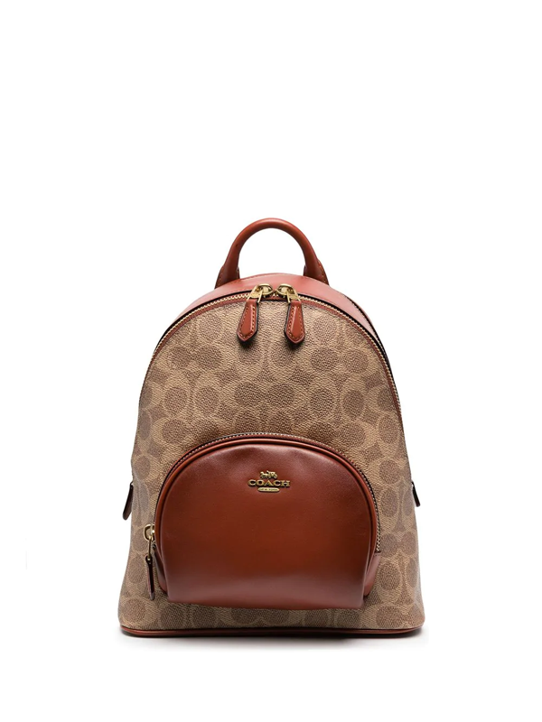 Coach Brand-print Coated Canvas Backpack In Brown