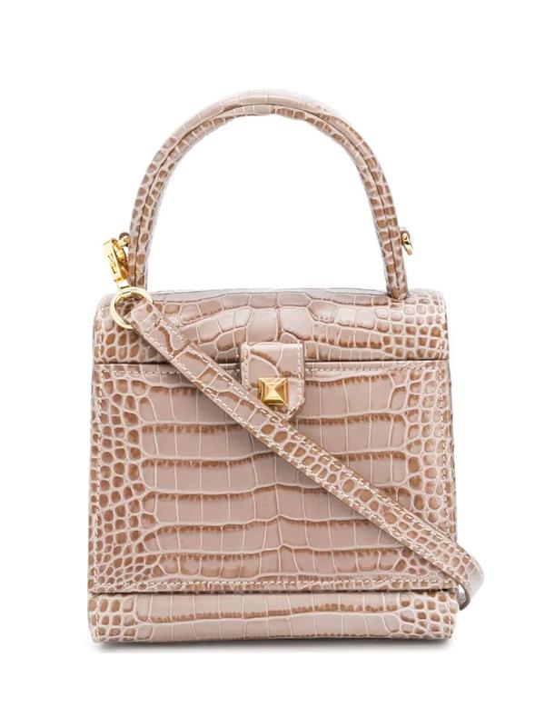 Salar Jelly Crocodile Tote Bag In Brown