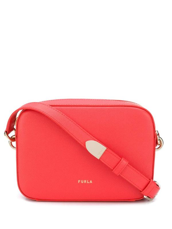 Furla Block Leather Crossbody Bag In Red