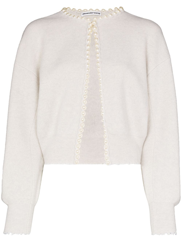 Alexander Wang Faux Pearl-embellished Distressed Wool-blend Cardigan In White