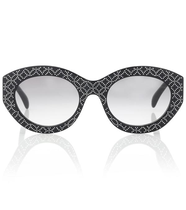 Alaïa Vienne Oval Acetate Sunglasses In Black