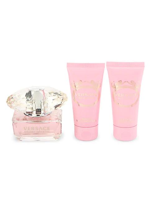 Versace Bright Crystal Eau De Toilette, Perfumed Shower Gel & Perfumed Body Lotion 3-piece Set In Pink