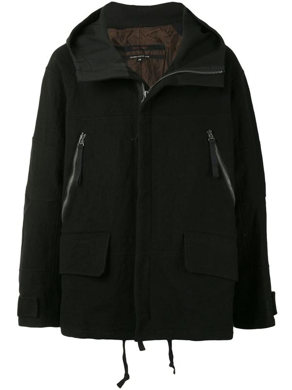 Ziggy Chen Oversized Zipped Hooded Jacket In Black
