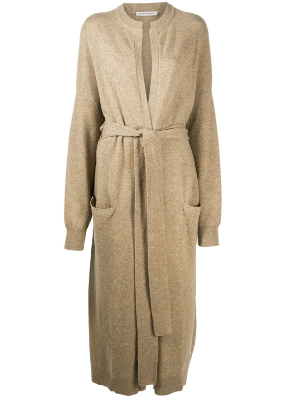 Extreme Cashmere Long Cashmere Tied Waist Cardigan In Neutrals