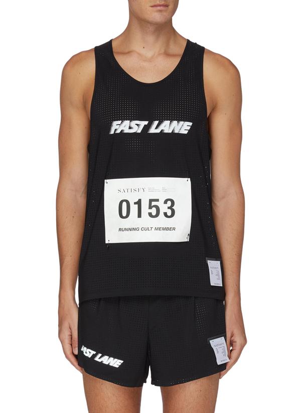 Satisfy 'fast Lane' Slogan Print Bib Number Singlet Vest