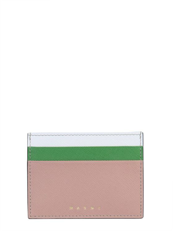 Marni Multicolor Leather Card Holder In Pink