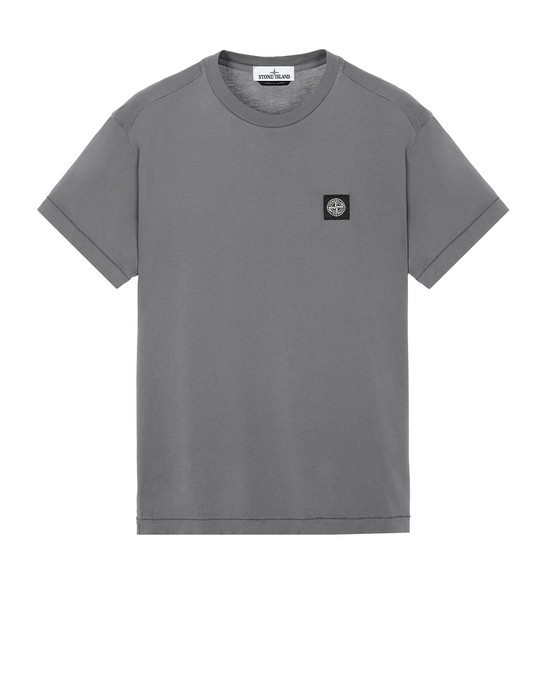 Stone Island Garment Dyed Patch Logo Tee Pewter In Grey