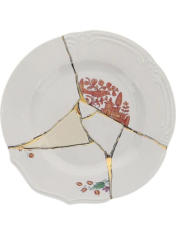 Seletti Crack Detail Plate In White