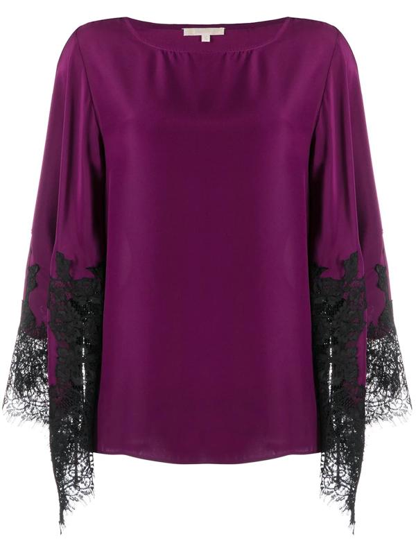 Gold Hawk Sabrna Silk Blouse In Purple