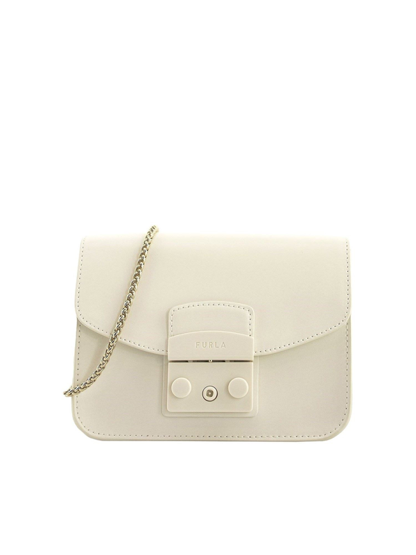 Furla Metropolis Mini Bag In White Leather