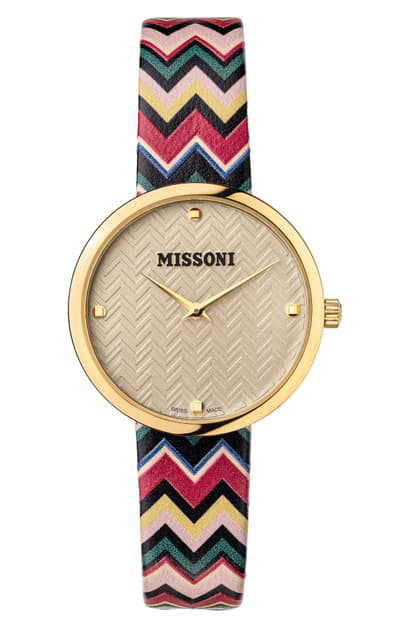 Missoni Multicolor Leather Strap Watch, 34mm (nordstrom Exclusive) In Champagne / Champagne