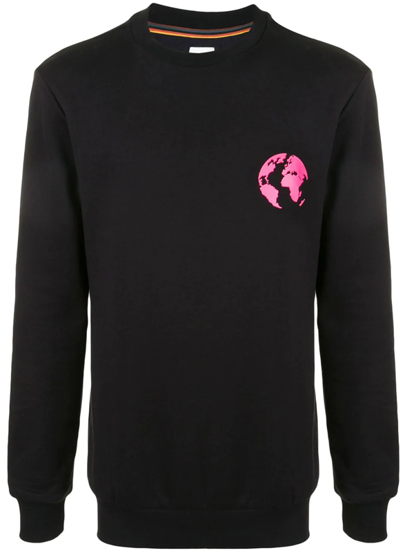 Paul Smith Earth Graphic Print Sweatshirt In Black