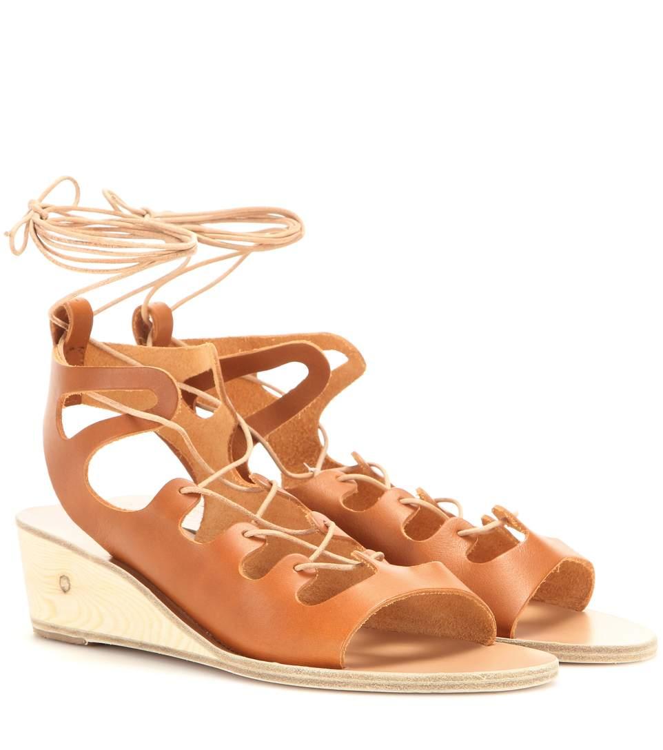 Ancient Greek Sandals Antigone Leather Wedge Sandals In Brown