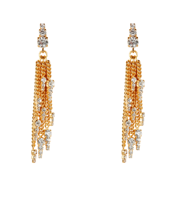 Elizabeth Cole Gretel Chain-link Fringe Earrings In Gold