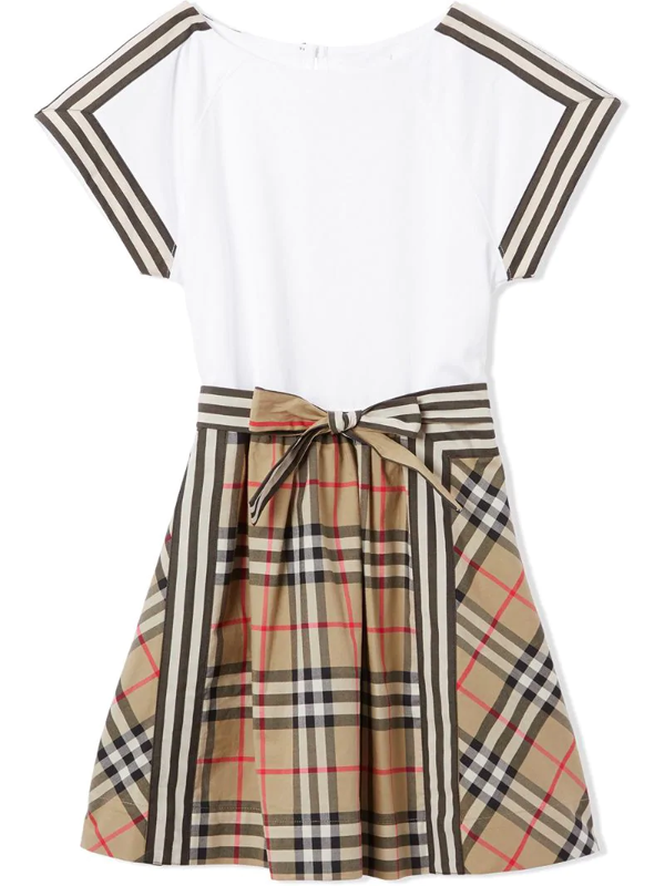 Burberry Kids' Vintage Check Bow Dress In White