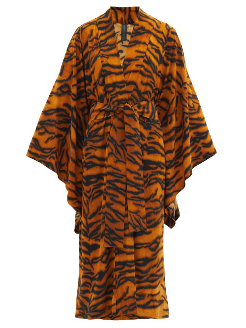 Norma Kamali Belted Tiger-print Stretch-jersey Robe In Camel