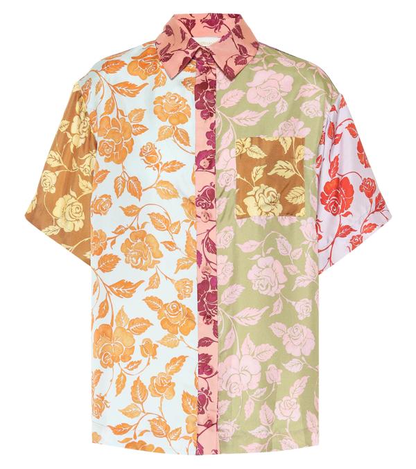 Zimmermann The Lovestruck Floral-print Silk-twill Shirt In Pink