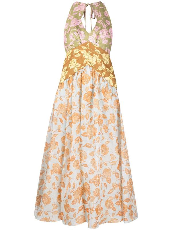 Zimmermann The Lovestruck Floral-print Linen Halterneck Midi Dress In Orange