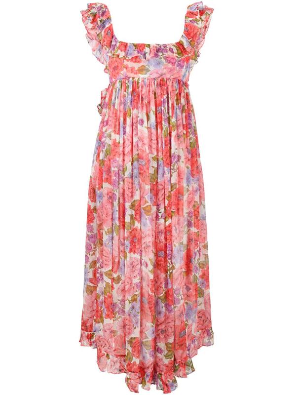 Zimmermann Poppy Open-back Ruffled Floral-print Silk-crepon Midi Dress In Pink