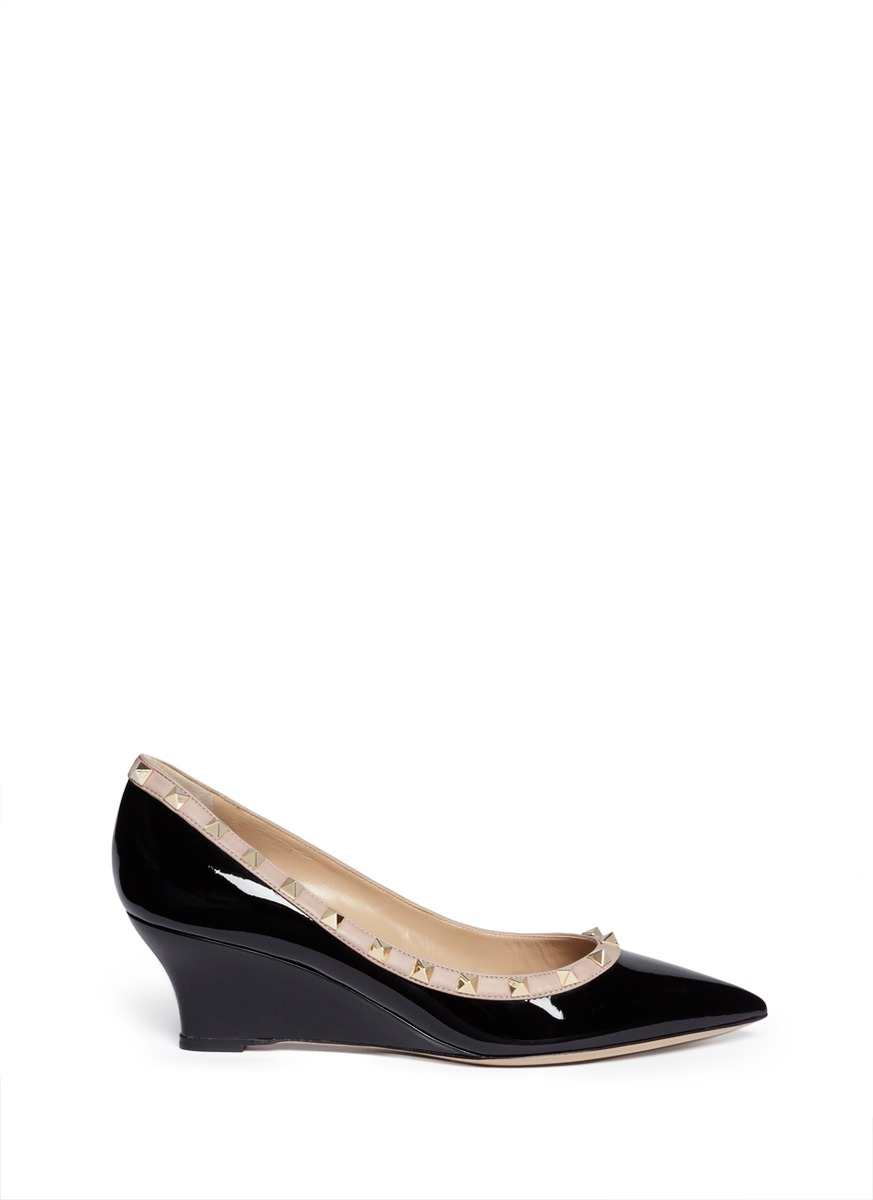 Valentino 'Rockstud' Patent Leather Wedge Pumps In Eero