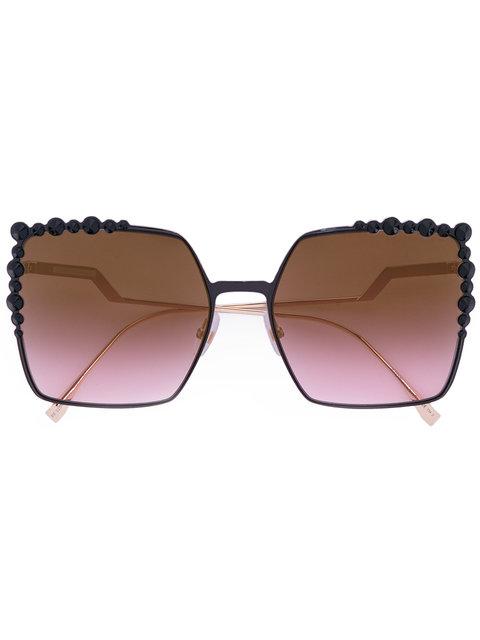 Fendi 60mm Gradient Square Cat Eye Sunglasses - Black