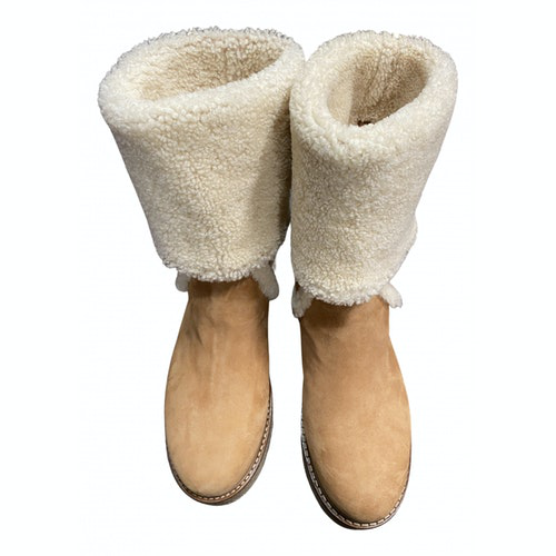 Pre-owned Salvatore Ferragamo Beige Shearling Boots