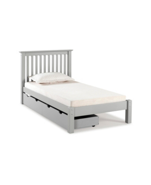 Alaterre Furniture Barcelona Twin Bed With Storage Drawers In Dove Gray