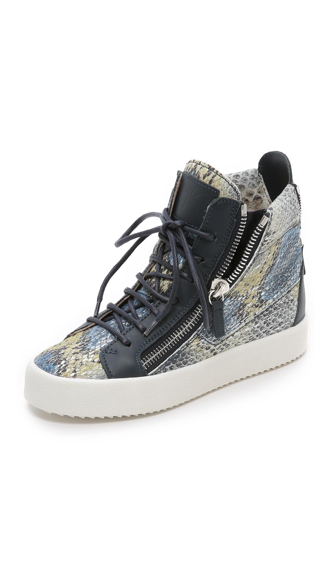 Giuseppe Zanotti Printed Snake Sneakers In Blue Multi