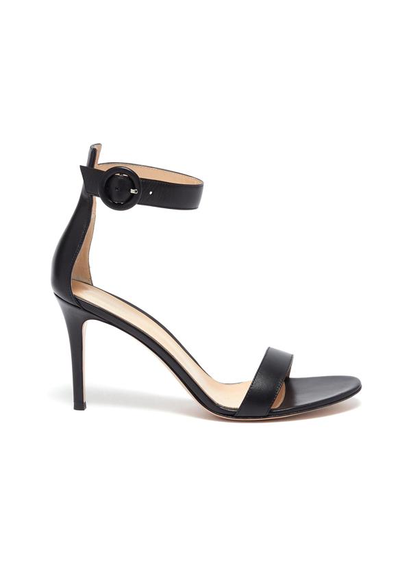 Gianvito Rossi 'portofino 85' Ankle Strap Heeled Sandals In Black