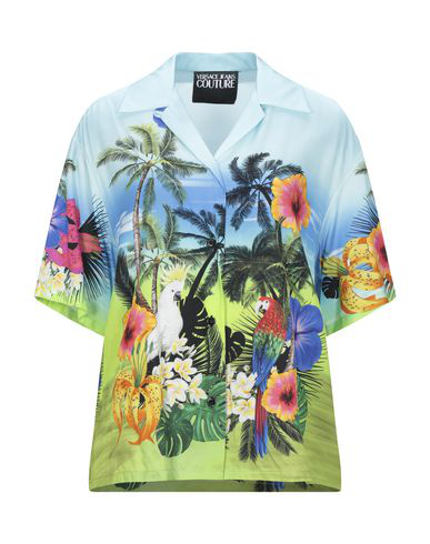 Versace Jeans Couture Patterned Shirts & Blouses In Sky Blue