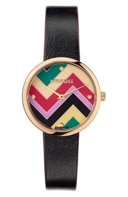 Missoni M1 Joyful Chevron Dial Leather Strap Watch, 34mm (nordstrom Exclusive) In Champagne / Multicolor