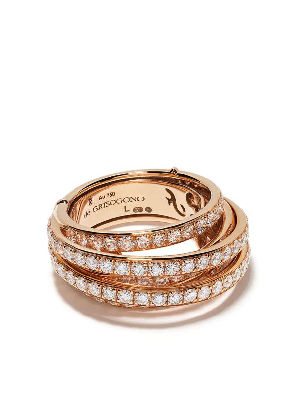 De Grisogono 18kt Rose Gold Layered Diamond Ring