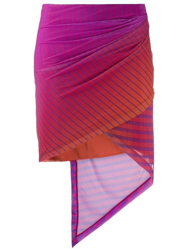 Fenty Grid Pattern Asymmetric Skirt In Purple