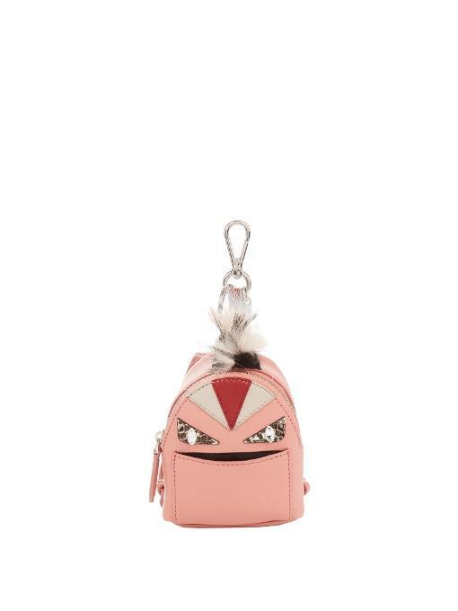 64d287f005d5 Fendi  Monster  Genuine Fox Fur Trim Backpack Bag Charm In Pink Multi
