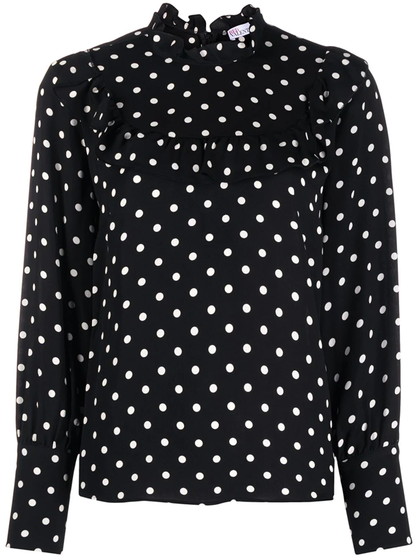 Red Valentino Viscose Shirt With Polka Dots Print In Black