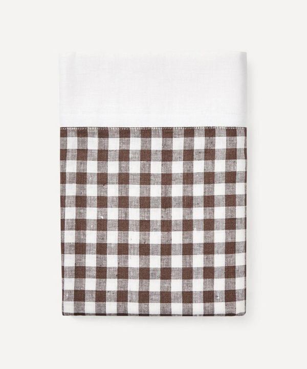 Rebecca Udall Gingham Linen Tablecloth In Brown