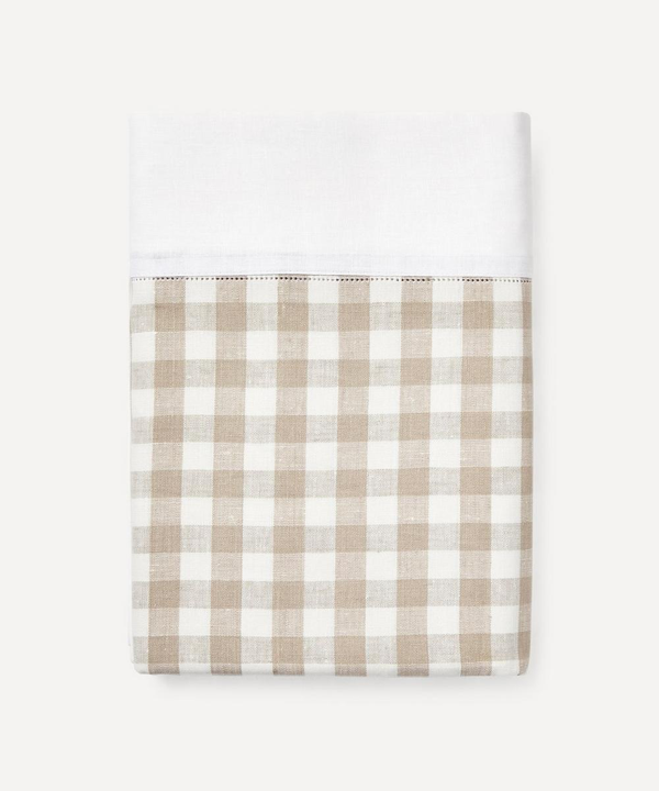 Rebecca Udall Gingham Linen Tablecloth In Neutrals