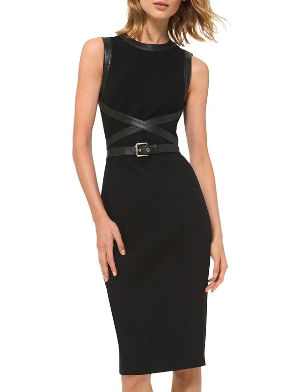 Michael Kors Women's Stretch Bouclé Crisscross Leather Belted Sheath Dress In Black