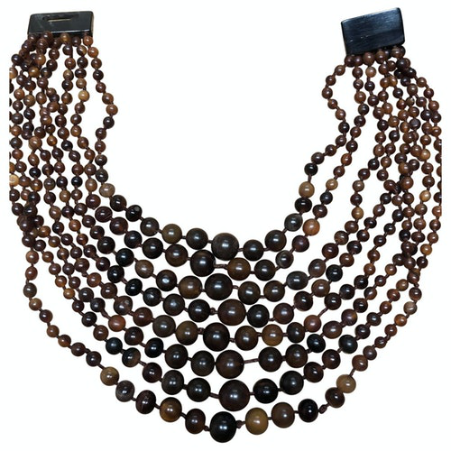 Pre-owned Monies Brown Horn Necklace