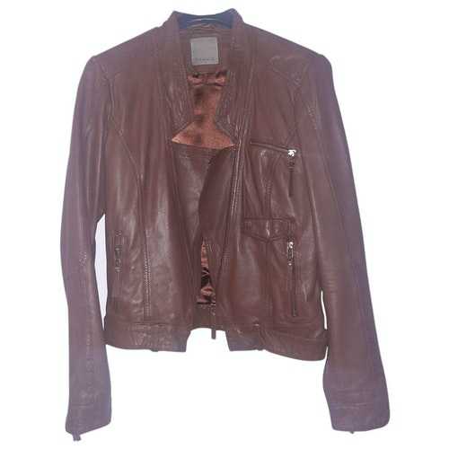 Pre-owned Pinko Brown Leather Leather Jacket