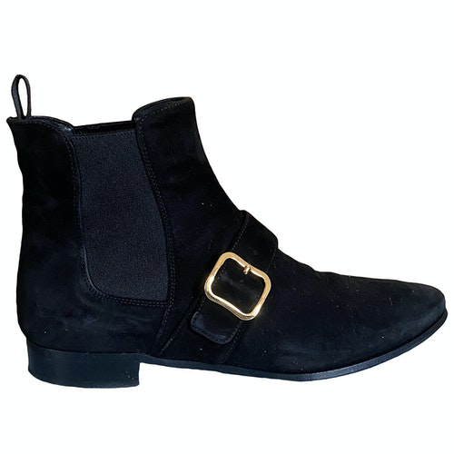 Pre-owned Prada Black Suede Ankle Boots