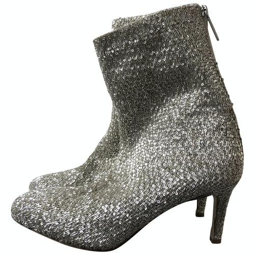 Pre-owned Monique Lhuillier Silver Glitter Boots