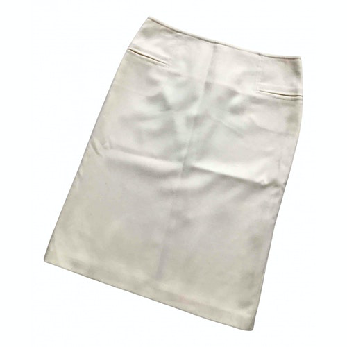 Pre-owned Set Ecru Wool Skirt