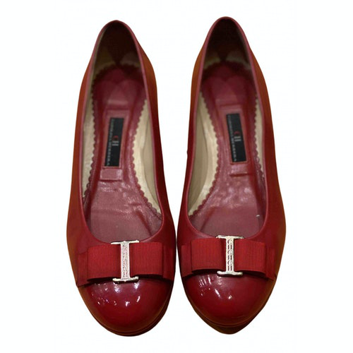 Pre-owned Carolina Herrera Red Leather Ballet Flats
