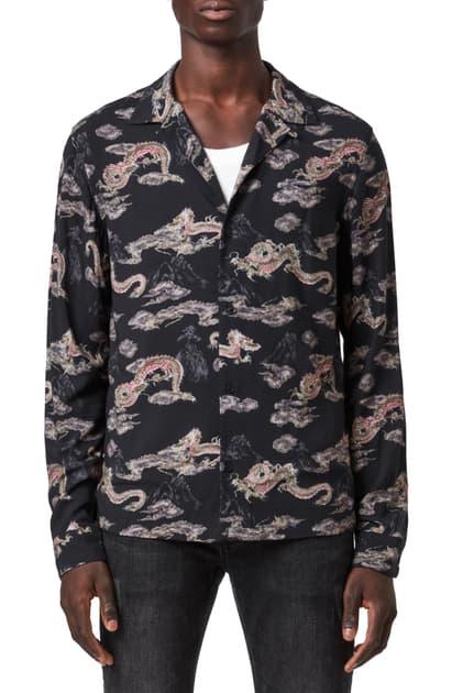 Allsaints Hongshan Dragon Shirt In Jet Black/ Grey