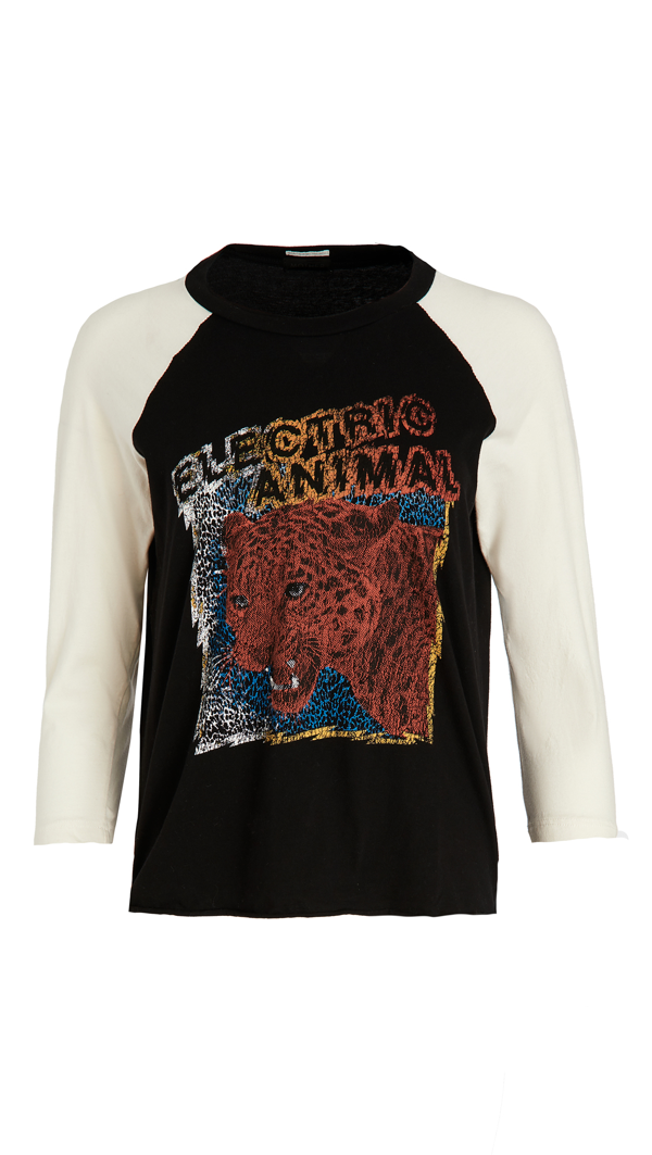 Mother The Concert Three Quarter Sleeve Graphic Tee In Electric Animal